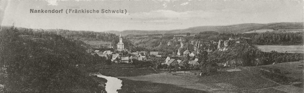 Panorama-Ansicht auf Nankendorf um 1900
