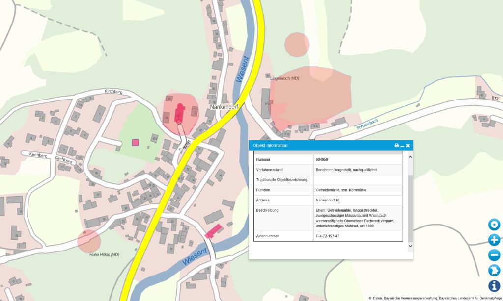 BayernAtlas Geoportal Karte mit Baudenkmälern