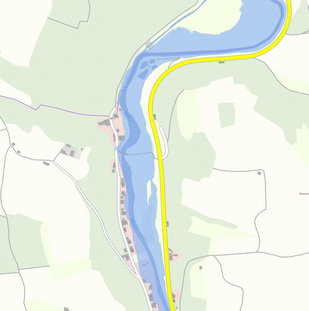 Geoportal Karte mit Überschwemmungsgebieten (Nankendorf Nord) – Datenquelle: Bayerisches Landesamt für Umwelt, www.lfu.bayern.de