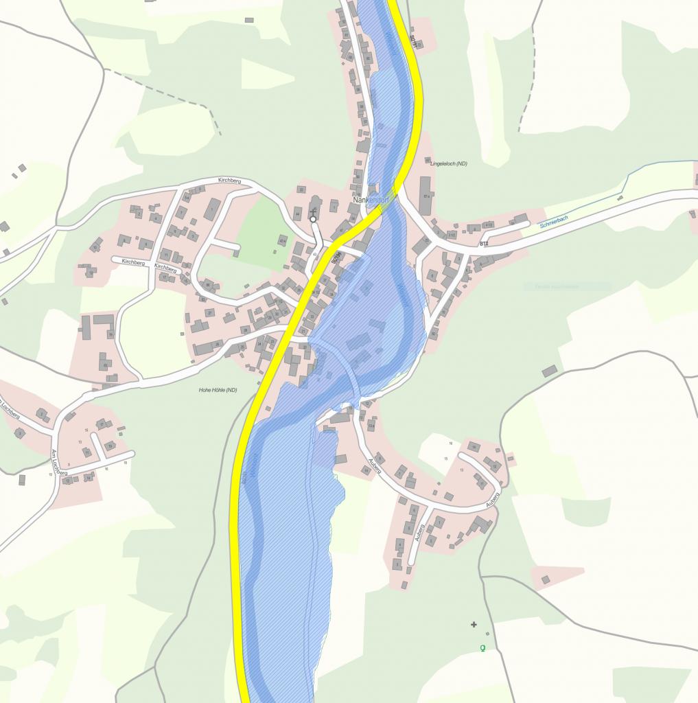 Geoportal Karte mit Überschwemmungsgebieten (Nankendorf Süd) – Datenquelle: Bayerisches Landesamt für Umwelt, www.lfu.bayern.de