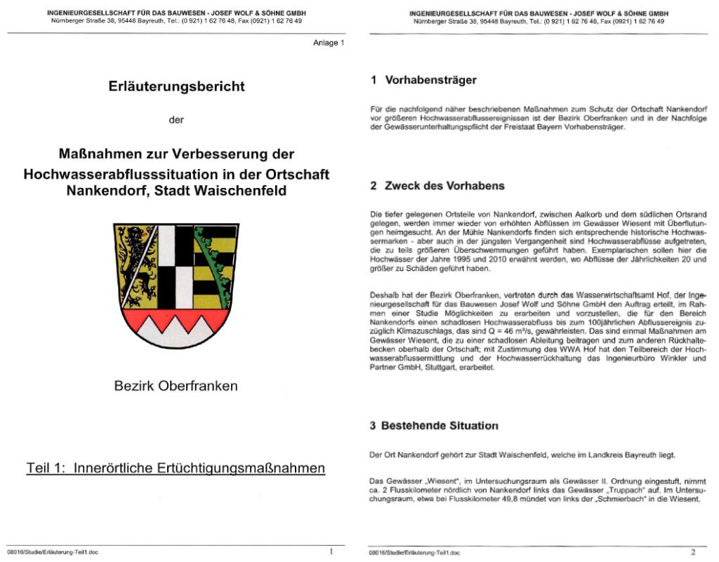 Erläuterungsberichts zu Maßnahmen zur Verbesserung der Hochwassersituation in der Ortschaft Nankendorf